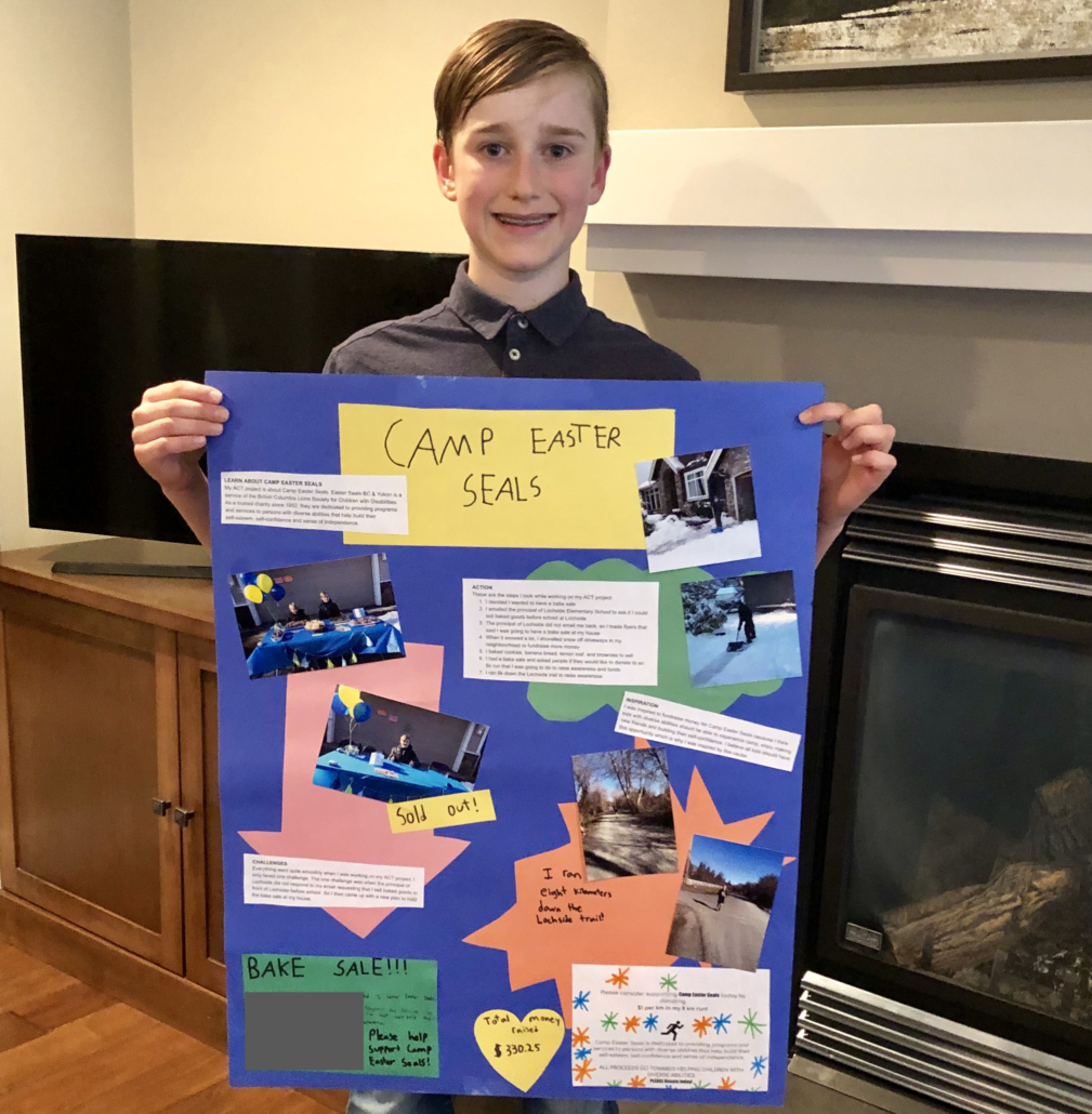 Oliver raised $360 for Easter Seals through a school project